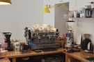 The bulk of the coffee operation is off to the left-hand side...