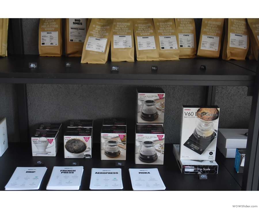 There's also a decent selection of coffee equipment, including brew guides for each.
