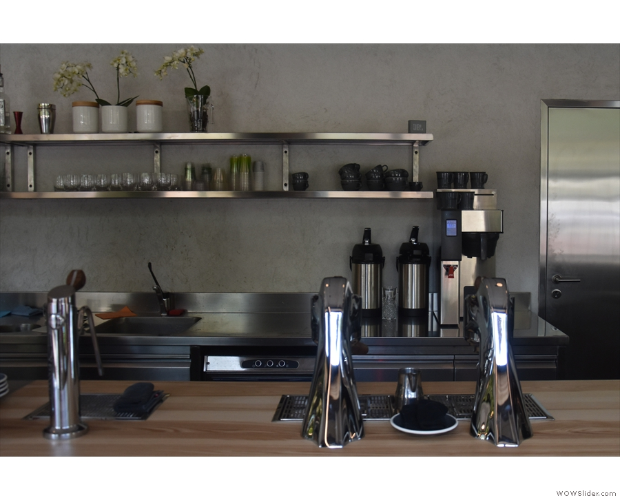 Next, after a gap, is the espresso side of the operation and this gleaming Modbar...