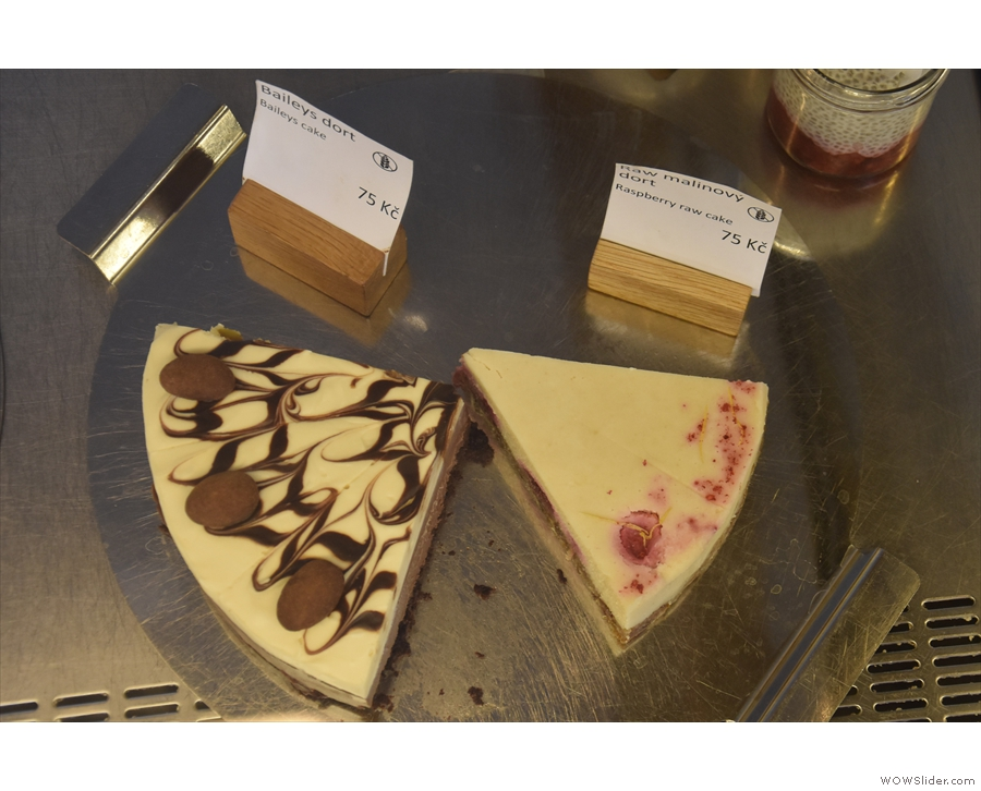 ... and more cheesecake (Baileys, left and raspberry, right).