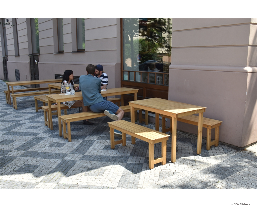 ... where you'll find these four picnic-style tables.