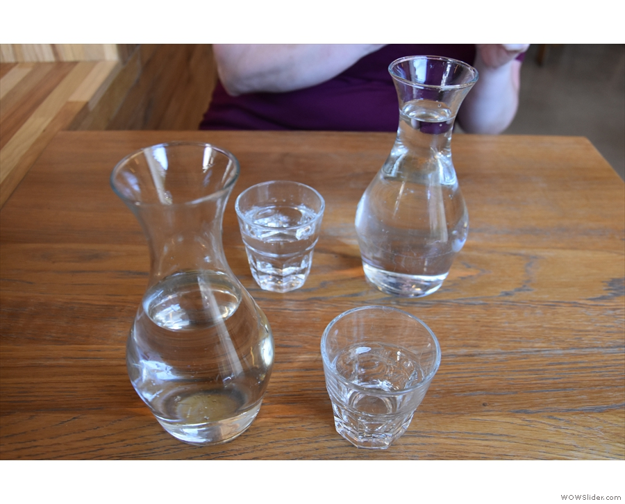 But what to have? Well, we started off with filtered water, still and sparkling.