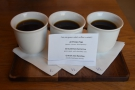 We returned the following morning to try the filter flight, samples of all three pour-overs.
