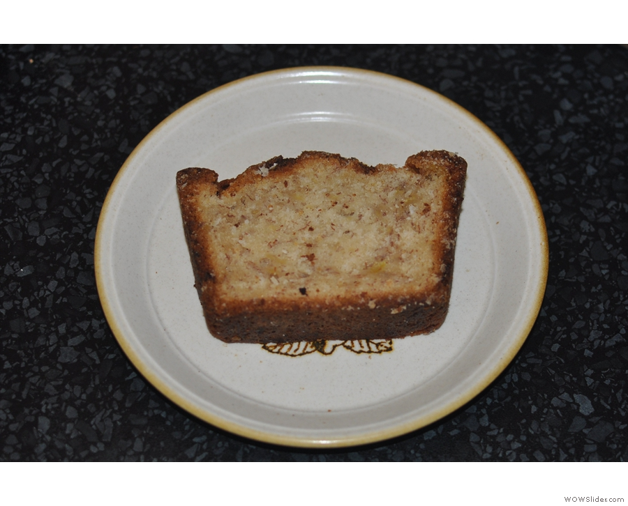 I took a slice of banana and coconut tea bread home with me...