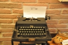 ... this old manual typewriter, where you can leave messages for the other customers...