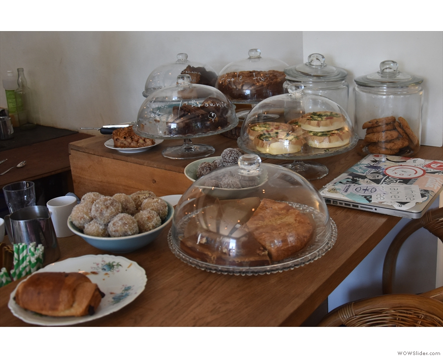 ... which is where you'll find the cakes and savoury snacks (all baked in house).