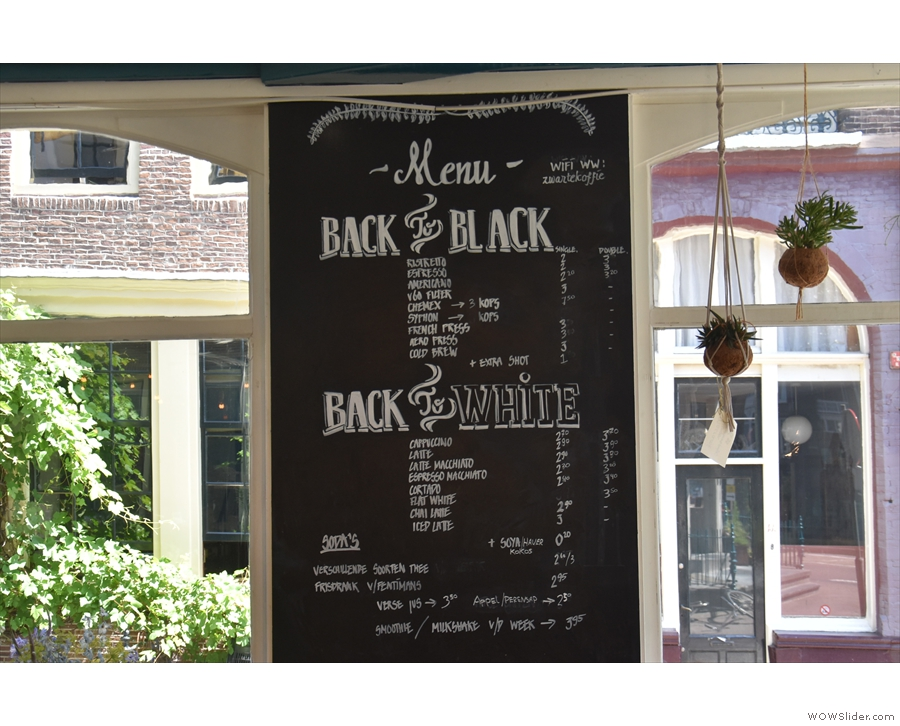Interestingly, the menu is all the way on the other side of Back To Black, right by the door.