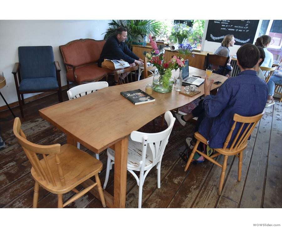 Another view of the communal table in a rare, unoccupied moment...