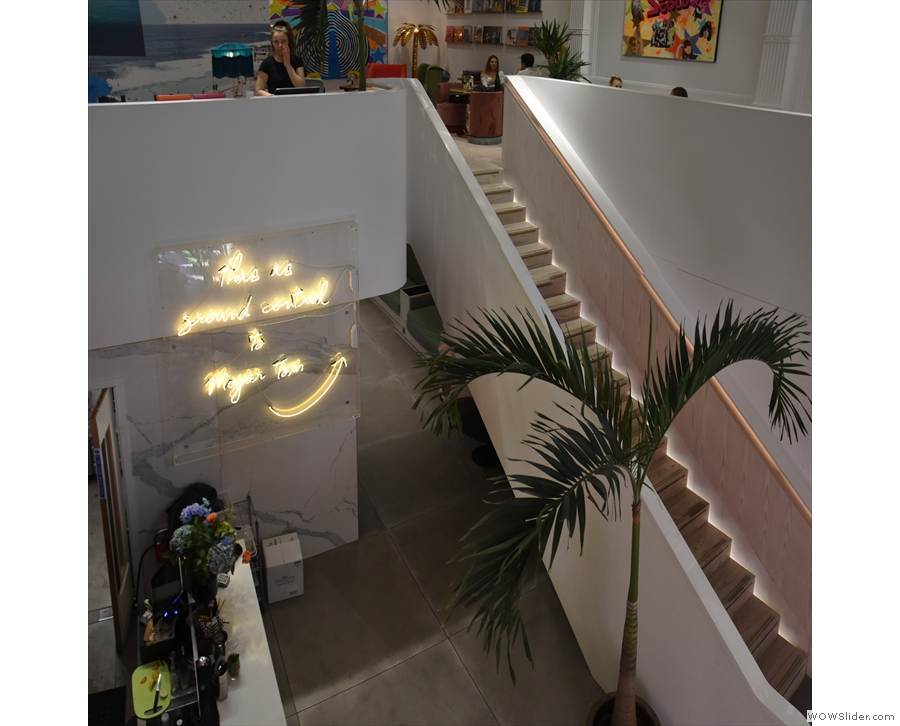 A view of the staircase from above.