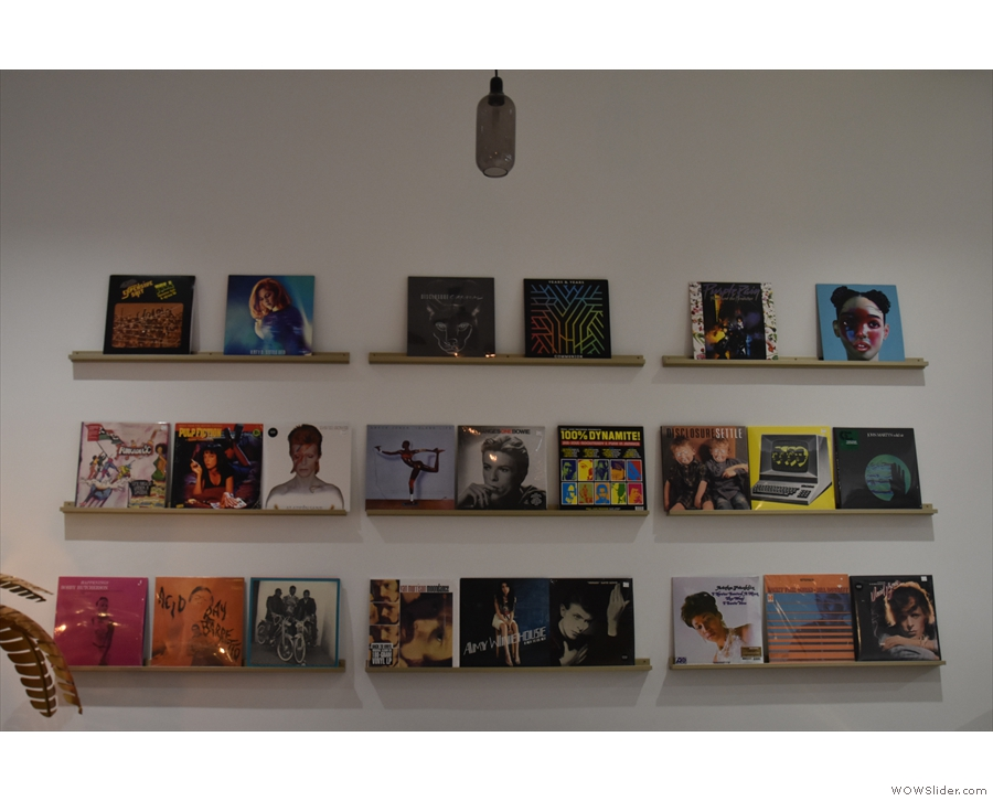 The art work is very David Bowie inspired. Here's a collection of his records...