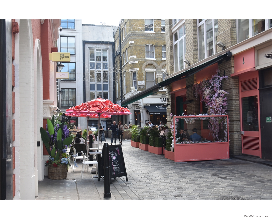 At the bottom end of Heddon Street, just where it meets Regent Street...