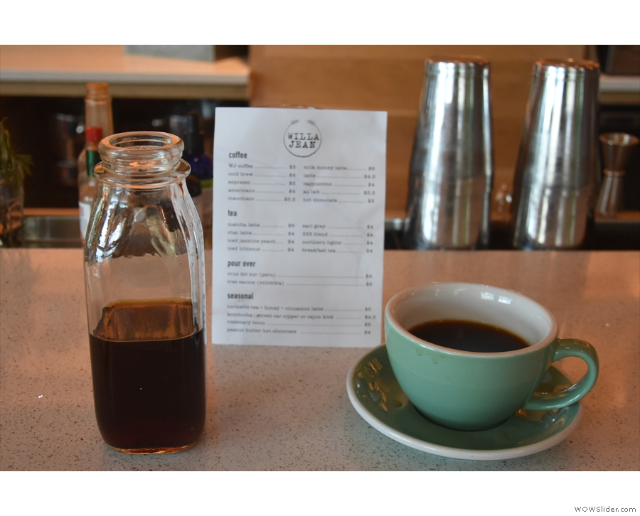My coffee was served in a small bottle, cup on the side, just how I like it.
