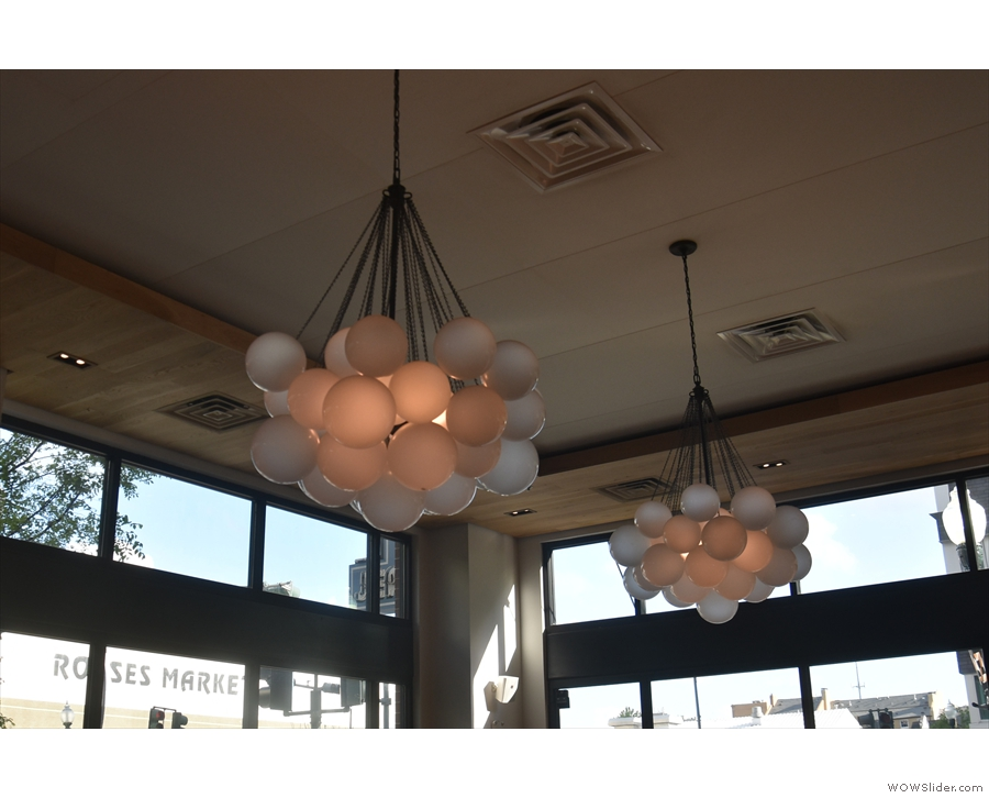 Willa Jean has a wonderfully high ceiling and some excellent light fittings to occupy it...