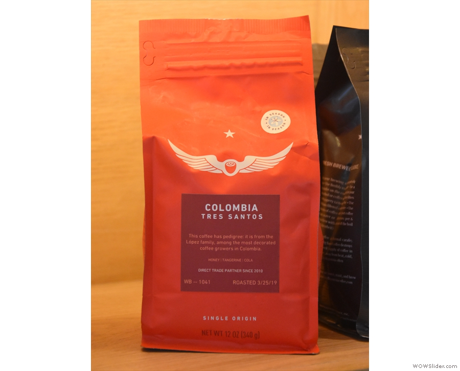 I had a pour-over, with a choice of two single-origins, selecting the Colombian Tres Santos.