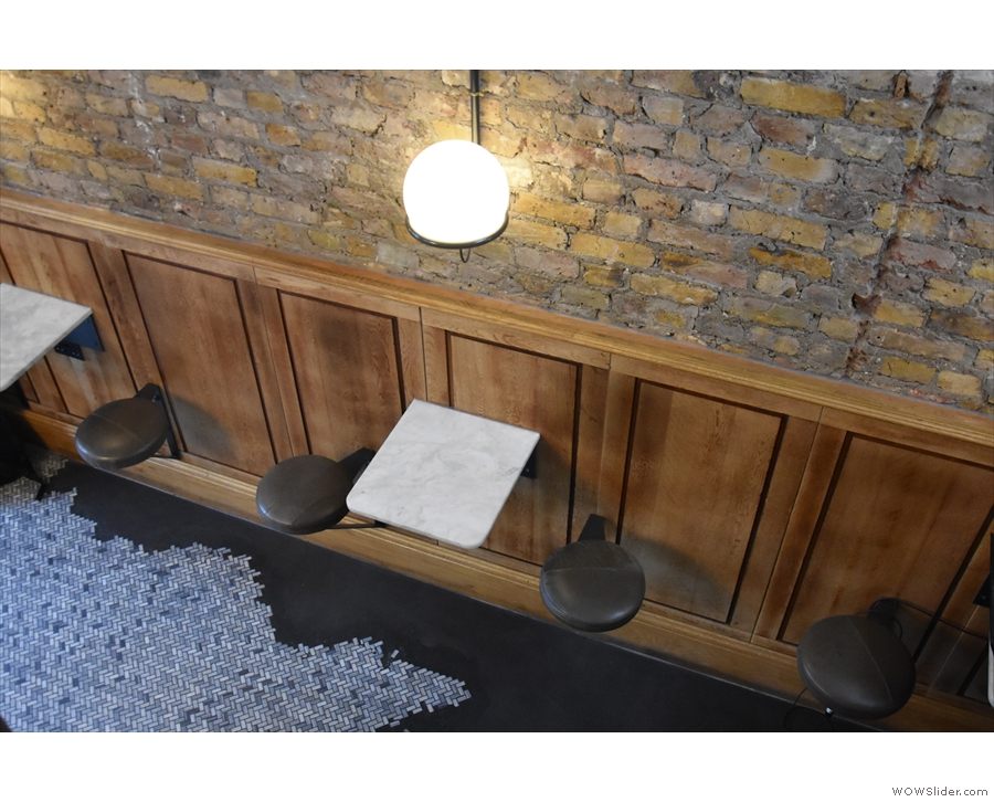 ... including the small tables and stools down the left-hand side of the stairs.