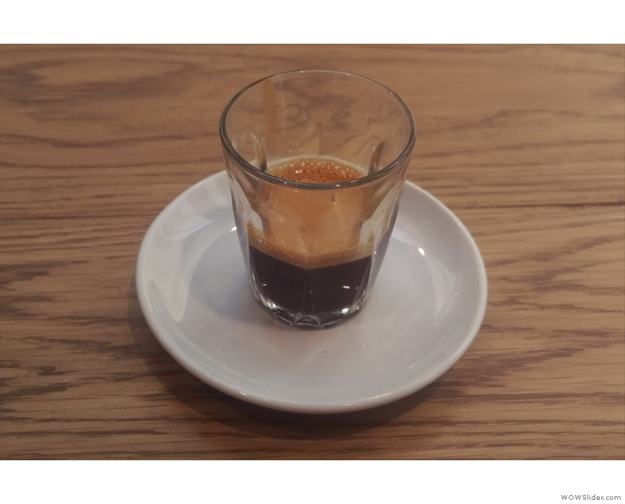 First up, the East End Blend, seen here as an espresso, served in a glass...