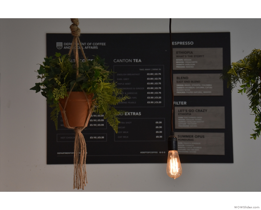 Meanwhile, the hanging plants and bulbs made it difficult to get a shot of the menu...