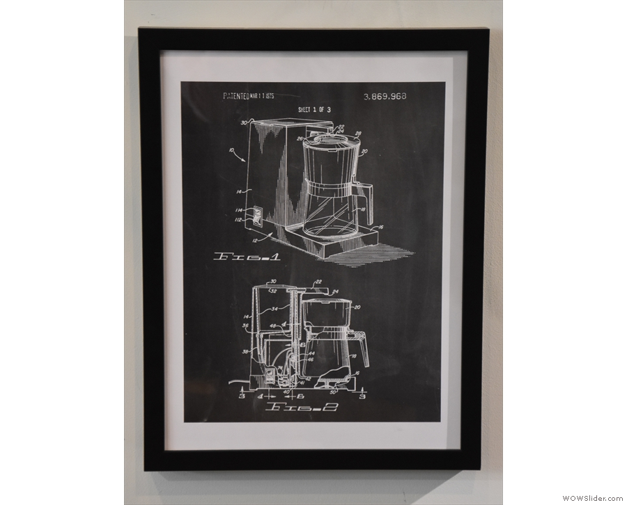 They are mostly line-drawings of coffee equipment like this one.
