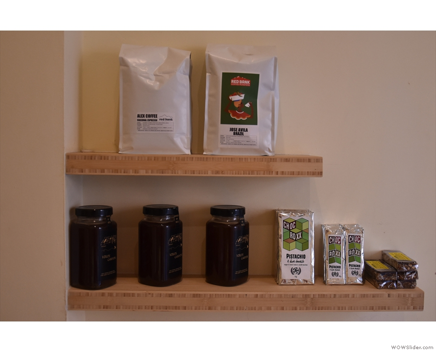 ... while shelves on the right display the coffee from the Lake District's Red Bank.