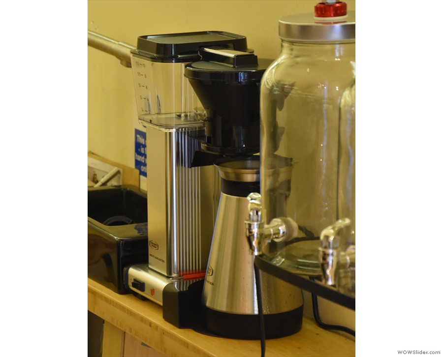 There's a cafetiere option (for two) or batch brew from the Moccamaster.
