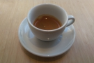 ... and was rewarded with a lovely single-origin from Brazil, served in a classic white cup.