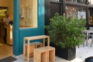 There's a little bit of outside seating in the shape of this small four-person table...
