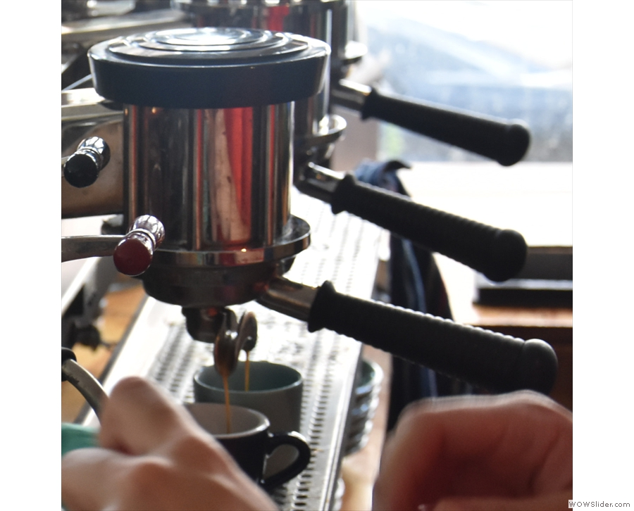 And, of course, you can watch your espresso shot being pulled.