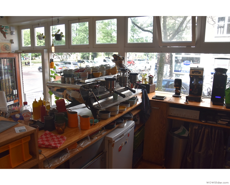 ... with the espresso machine off to one side, and the till just out of shot to the left.