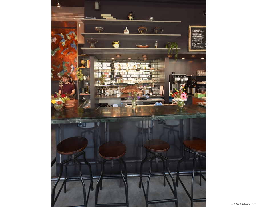 You can sit at the bar on one of five high bar stools.