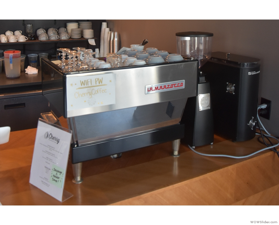 The La Marzocco Linea and its two grinders are on the right-hand end of the counter...