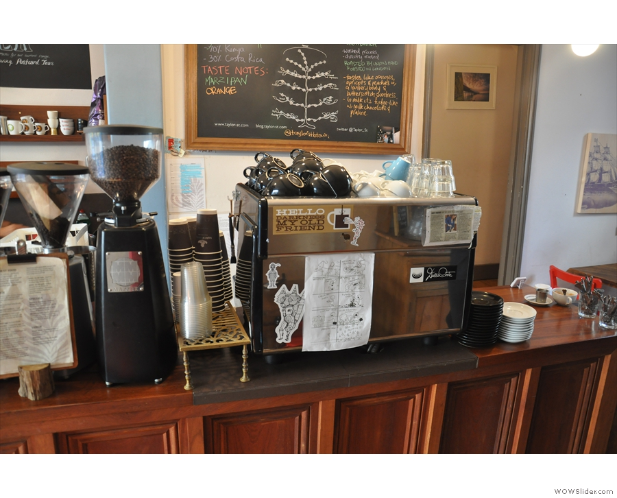 The espresso machine and grinders...