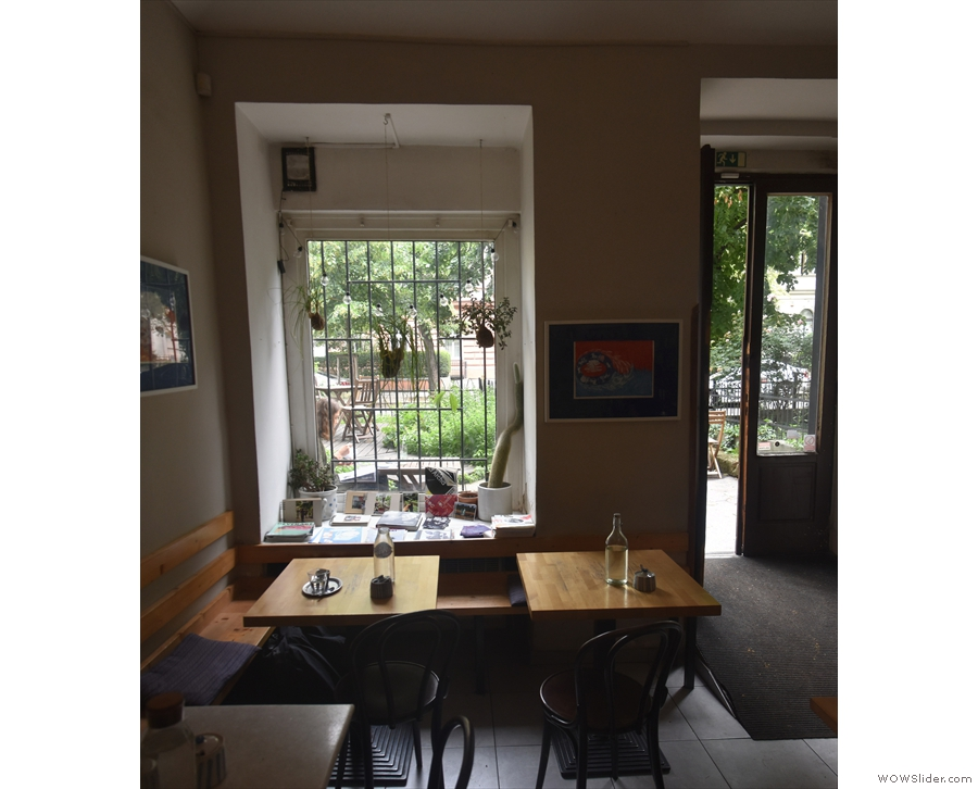 A view of the window and the two tables at the front...