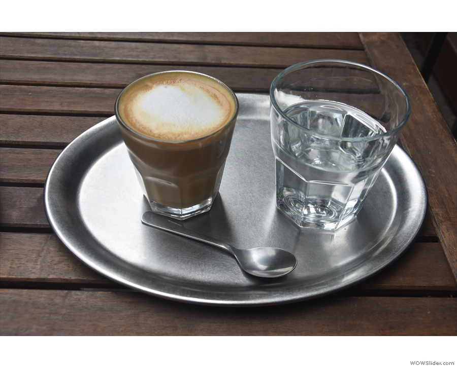 I also had a flat white, again beautifully presented on a tray with a glass of water.