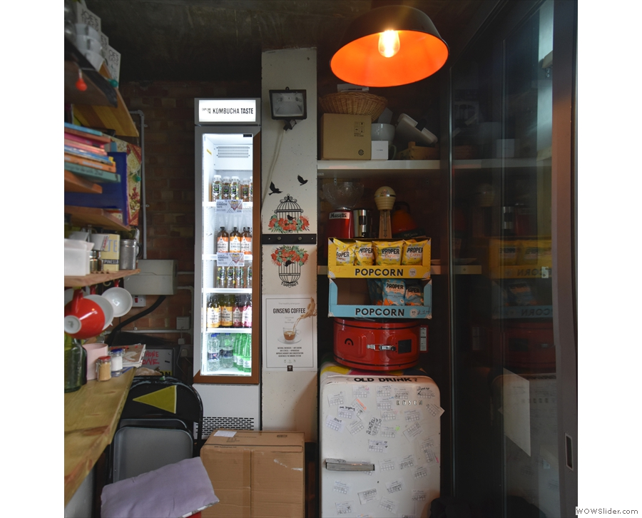 There's a fridge and other bits and pieces at the far end.
