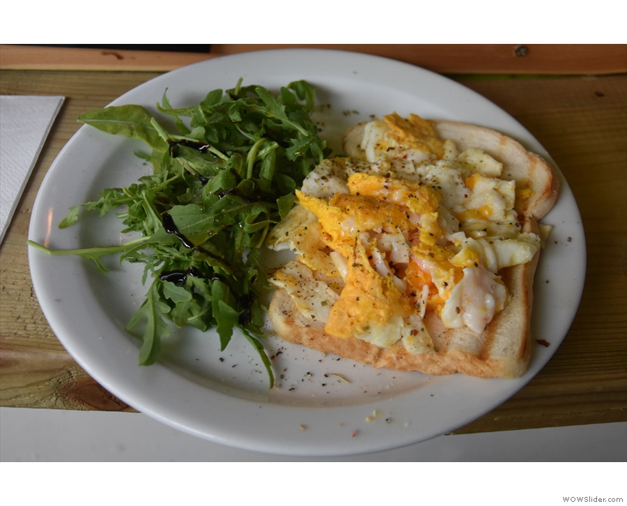 My eggs, with a green side salad, and, hiding somewhere under there, a slice of toast.