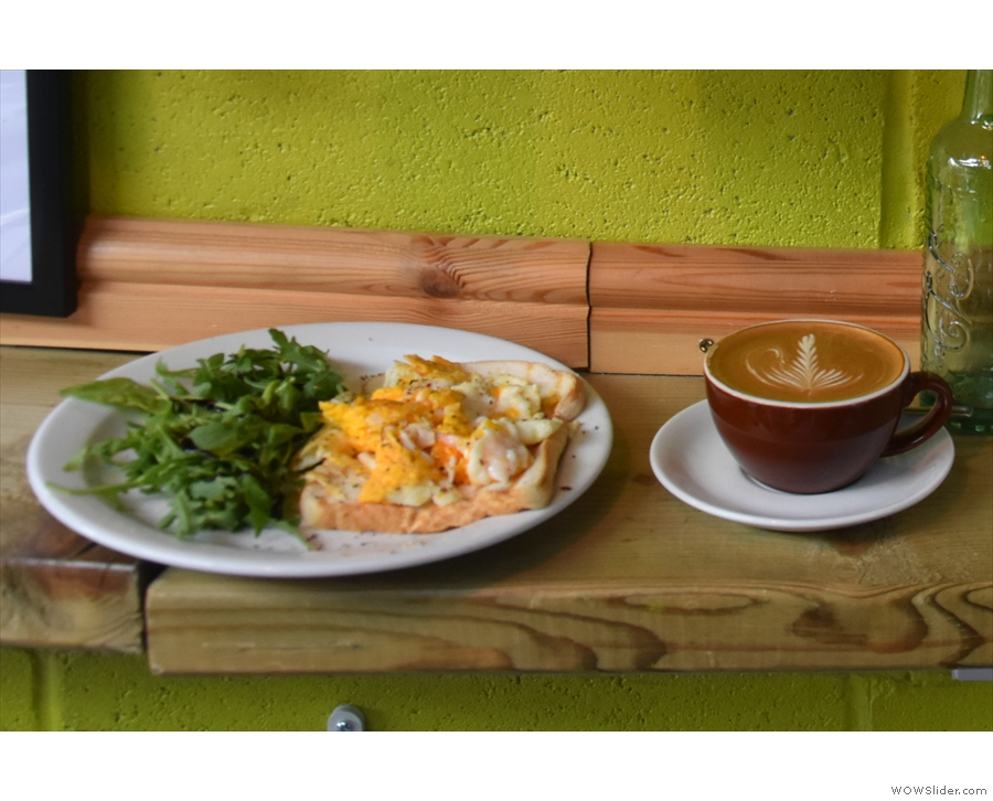 I'd come for lunch: scrambled eggs and a flat white.