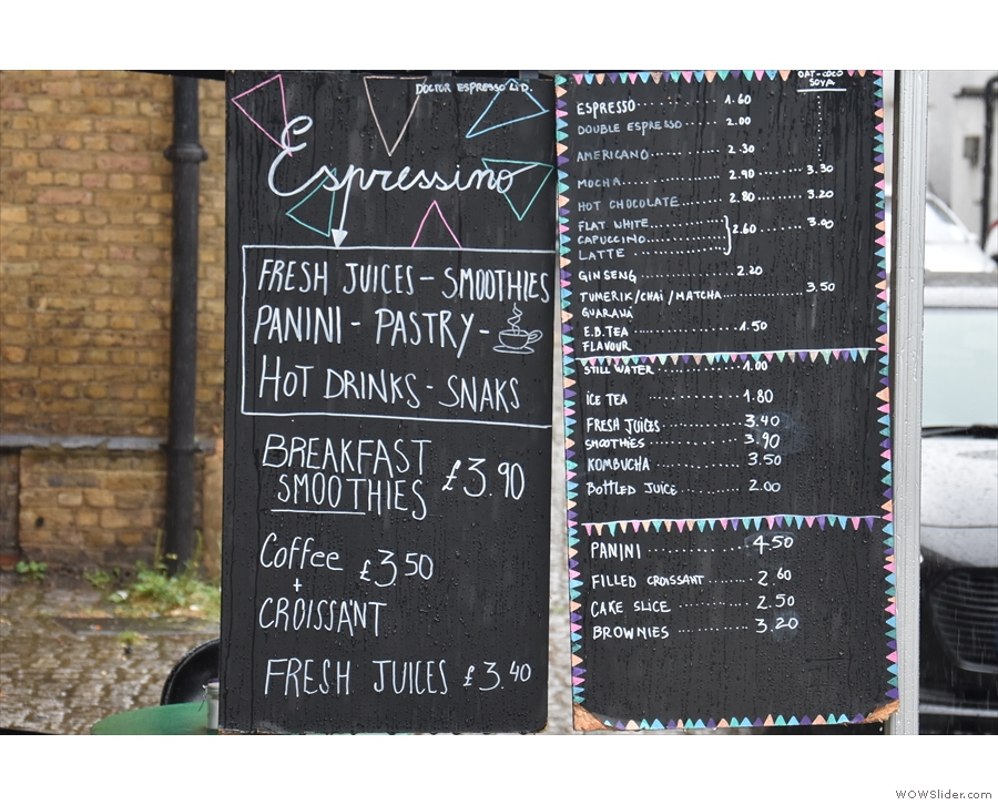 Meanwhile, the menu hangs outside, drinks on one side...
