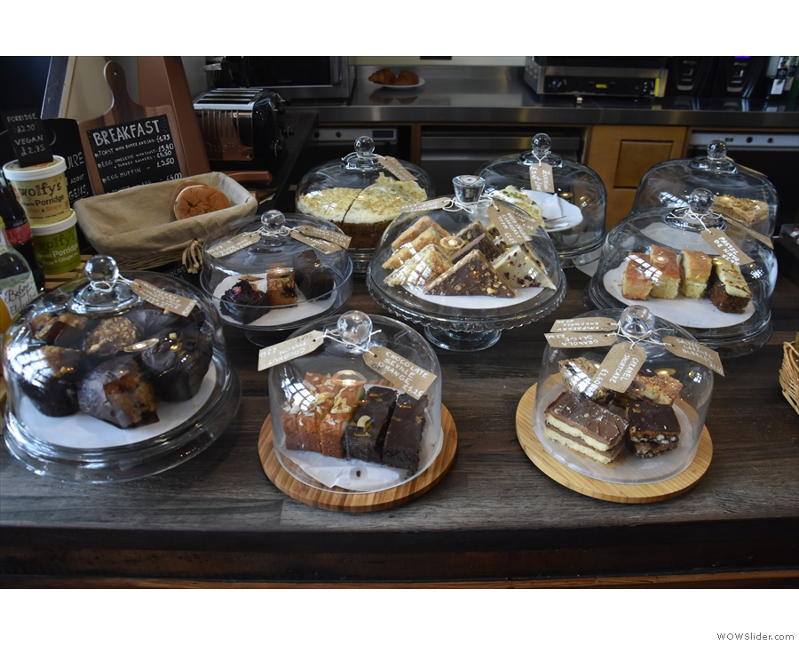 There's also a copious selection of cakes on the counter.