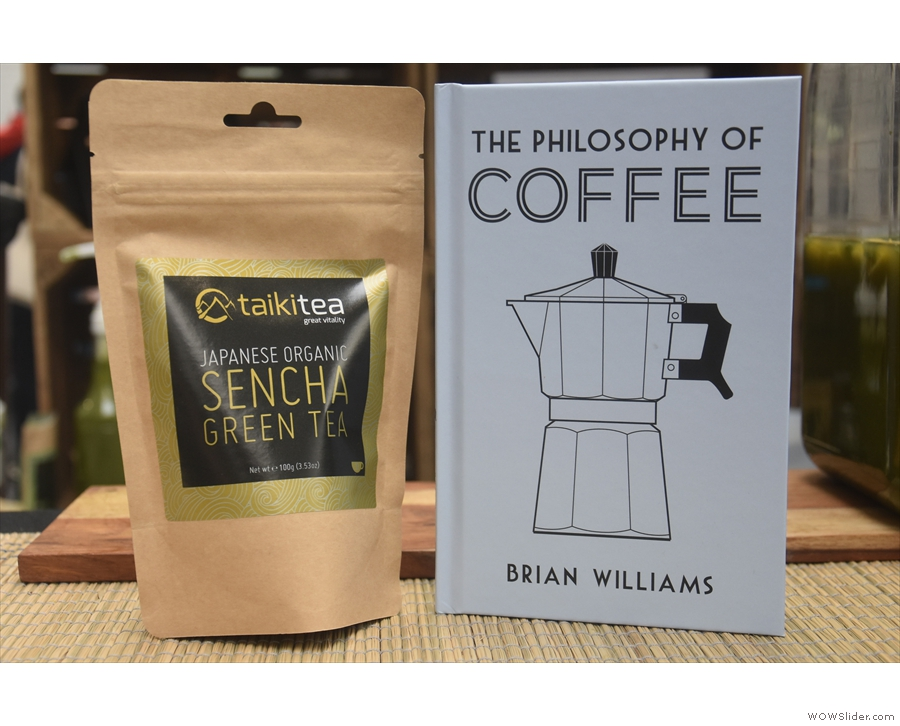 I swapped a bag of sencha loose-leaf tea for a copy of my book, The Philosophy of Coffee.