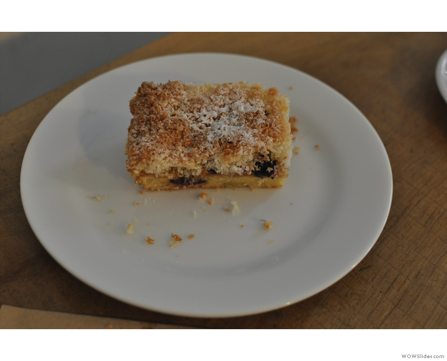 My blueberry, lemon curd and coconut slice.