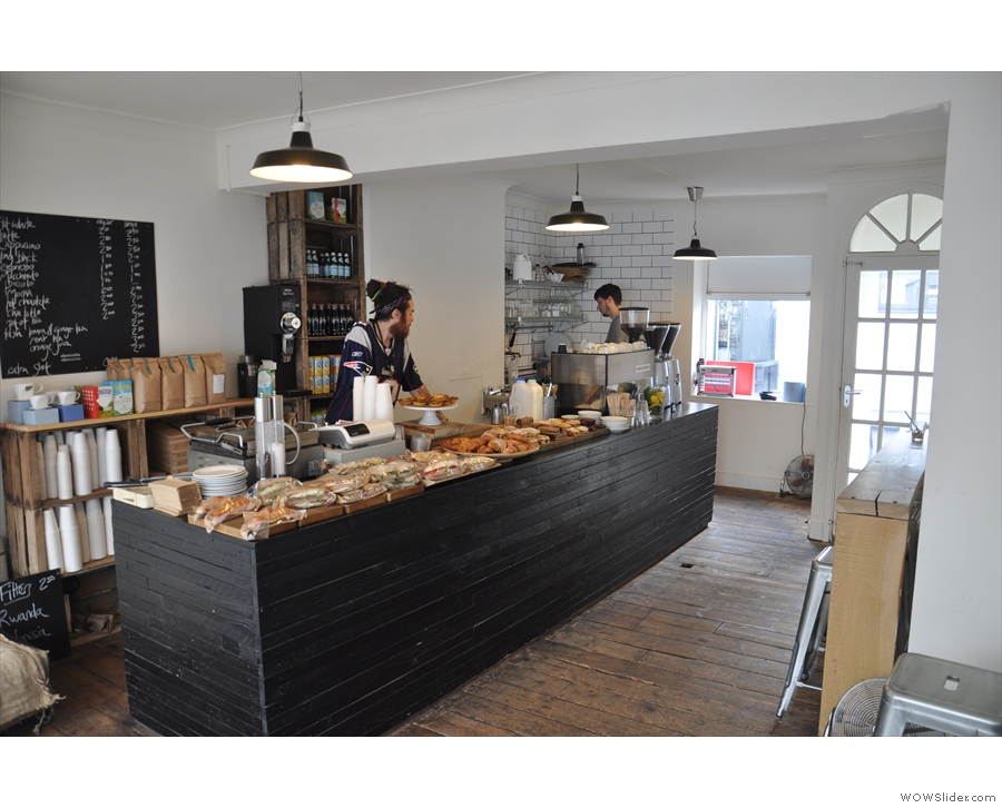 The view from just inside the door is very appealing, with Chris & Tom behind the counter.
