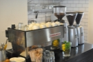 The espresso machine, with three grinders: Monmouth, Horsham & (Horsham) Decaf.