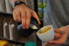I also got a chance to watch an expert at work. Latte art: the prep (1/5)