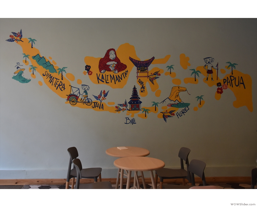 ... although pride of place has to go to the map of Indonesia on the left-hand wall.