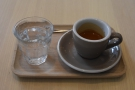 I started off with an espresso, served in a classic cup on a tray, glass of water on the side.
