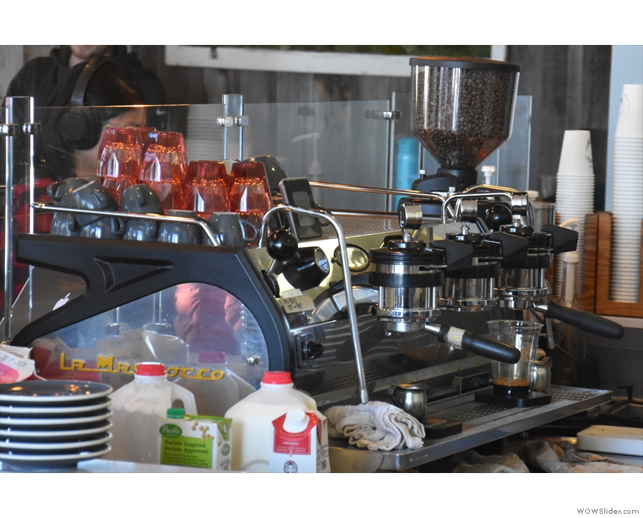The espresso machine, a three-group Strada, is at the back on the left-hand.