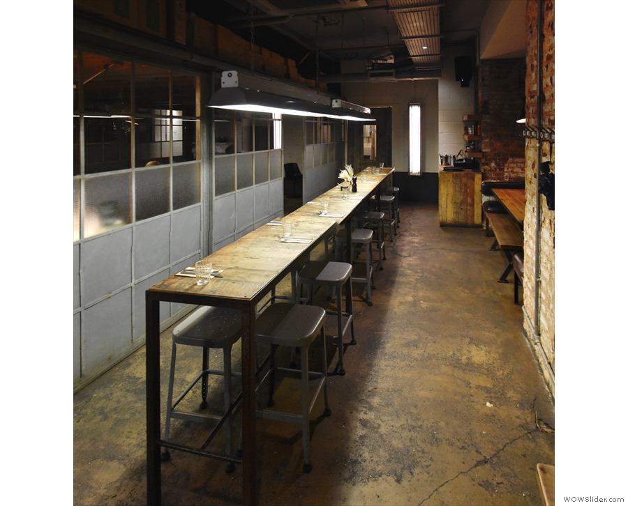 Next comes a long, thin communal table...