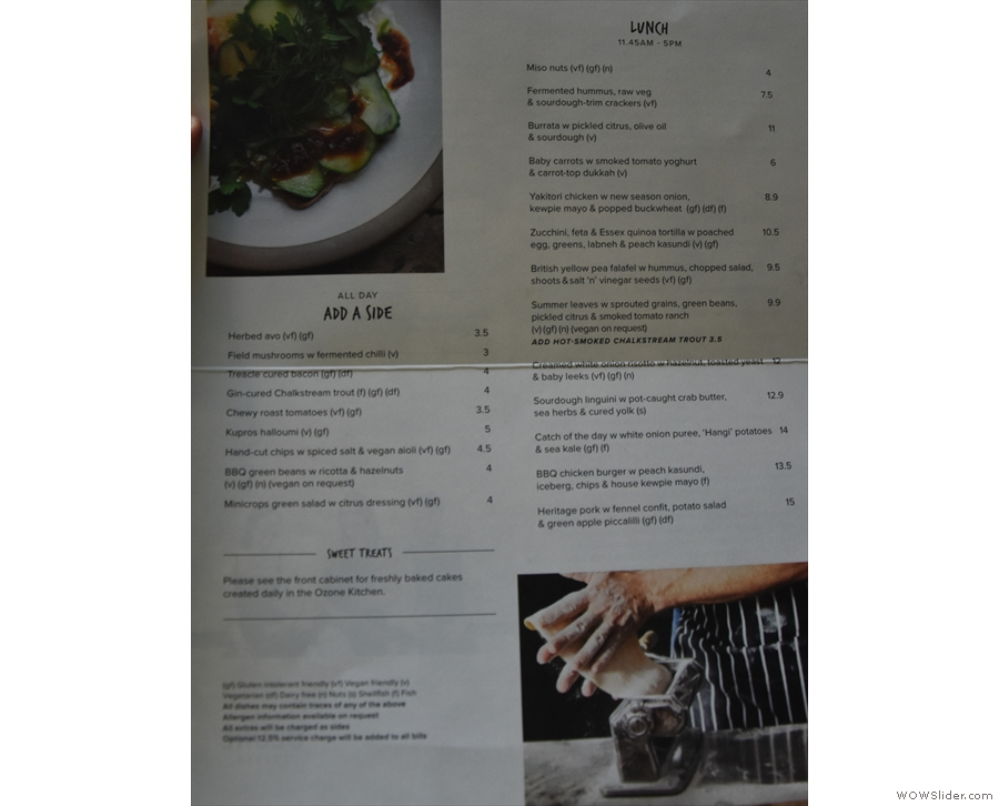 ... so had to make do with the lunch menu!