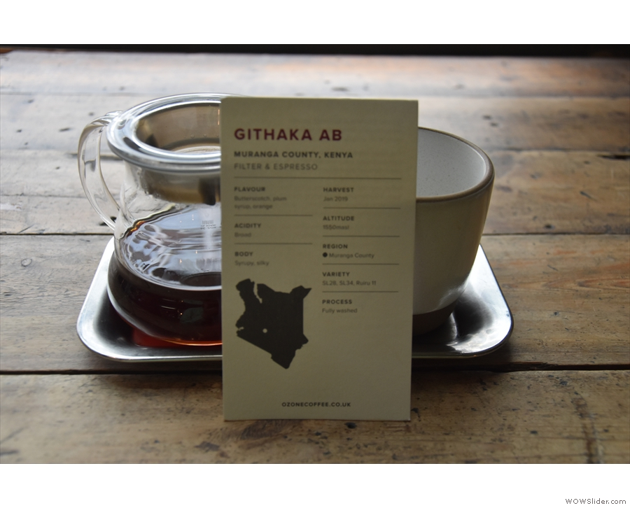 I went for the Kenyan Githaka Estate through the V60, my coffee arriving with an...