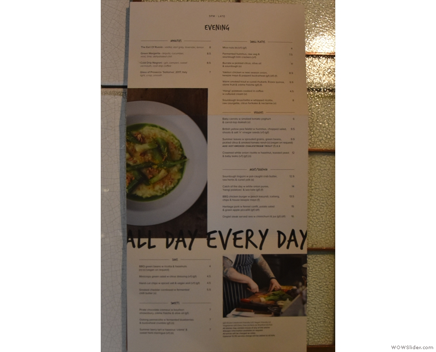 There's also a dinner menu from five o'clock onwards.